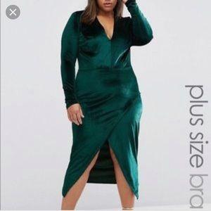 ASOS emeral green velvet Dress